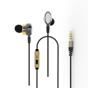 3.5mm Sports Wired In-ear Dual Dynamic Driver HiFi Earphone with Mic
