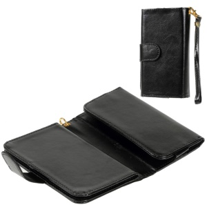 Universal Leather Wallet Purse Case for iPhone 6s 6 / Galaxy S6 / HTC One M9, Size: 145 x 75mm - Black