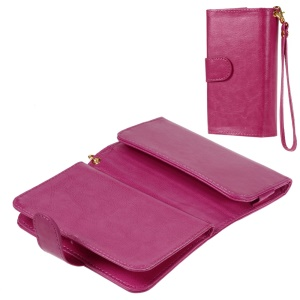Universal Leather Wallet Purse Cover for iPhone 6 6s / Galaxy S6 / HTC One M9, Size: 145 x 75mm - Rose