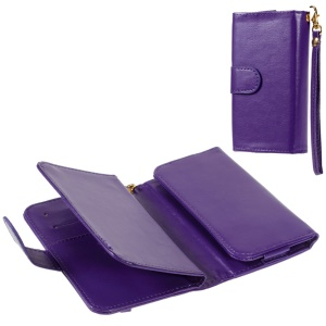 Universal Leather Flip Wallet Case for iPhone 6s 6 / Galaxy S6 / HTC One M9, Size: 145 x 75mm - Purple