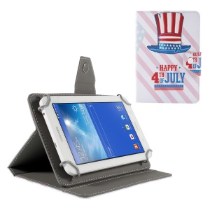 Universal Stand Leather Case for Amazon Fire HD 7/Samsung Galaxy Tab 4 7.0 etc - American Independence Day