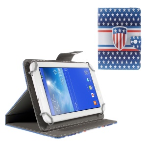 Universal Stand Leather Case for Amazon Fire HD 7/Samsung Galaxy Tab 4 7.0 etc - US Badge