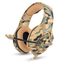 ONIKUMA K1 3.5mm Professional Gaming Headphone Over-ear Headset with Mic LED Light for PS4/XBOX One/Laptop/PC - Camouflage Brown