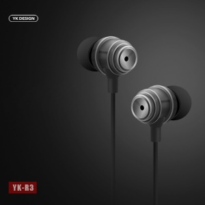 YK R3 3.5mm Plug Universal Mega Bass Wired Earphone with Mic for iPhone Samsung - Black