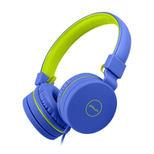 PICUN C30 Children 3.5mm Over-Ear Earphone Build-in Mic Wired Headset - Blue / Green