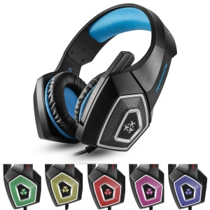HUNTER SPIDER V1 Over-ear Gaming Headphone Built-in Mic with USB RGB Lights - Blue