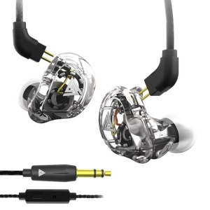 QKZ VK1 Coaxial Four Elements In-ear Stereo Headset 3.5mm Sport Headphone (with Microphone) - White
