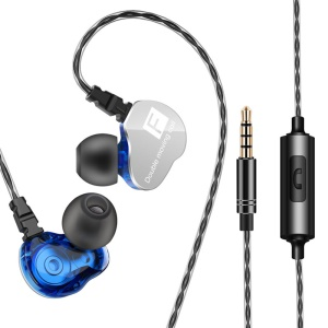 QKZ CK9 3.5mm In-ear Dual Dynamic Unit Earbuds HiFi Headset for iPhone Samsung LG, etc - Blue