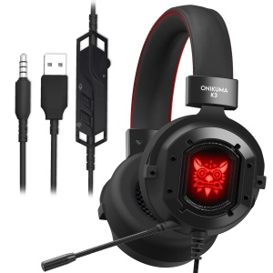 ONIKUMA K3 RGB Light Gaming Headphone Wired Headset with Mic for PC Cell Phone PS4 Xbox One Laptop - Black / Red