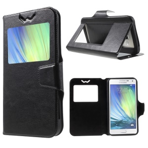 Universal Crazy Horse Window Leather Case for Samsung Galaxy A7, Size: 151 x 80 x 10mm - Black