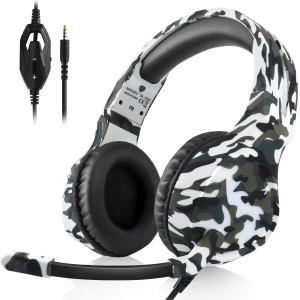 BUTFULLAKE SL-180 Camouflage 3.5mm Game Headphone with Microphone for Tablet Phone Laptop PS4 XBOX etc - Grey