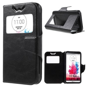 Crazy Horse Universal Window View Leather Case for LG K3, Size: 13.5 x 7cm - Black