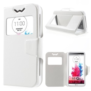 Crazy Horse Universal Window View Leather Cover for LG K3, S Size: 13.5 x 7cm - White