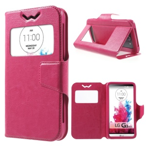 Universal Crazy Horse Window View Leather Cover for Huawei Ascend Y550, Size: 13.5 x 7cm - Rose