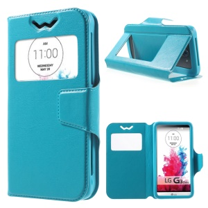 Crazy Horse Universal Window View Leather Shell for LG K3, 13.5 x 7cm - Blue