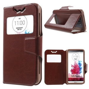 Crazy Horse Universal Window View Leather Case for LG K3, Size: 13.5 x 7cm - Brown