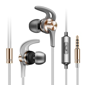 J02 Universal In-ear Wired Metal Earphone with Mic for iPhone Samsung Huawei, etc - Gold