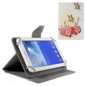 Universal Leather Stand Case for Samsung Galaxy Tab 3 7.0/ Tab 2 7.0 etc - Pretty Peonies and Butterflies