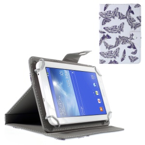 Universal Leather Cover Stand for Samsung Galaxy Tab 3 7.0/ Tab 2 7.0 etc - Purple Butterflies