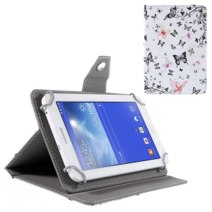 Universal Leather Table Case for Samsung Galaxy Tab 2 7.0/ Tab 3 7.0 etc - Pink and Black Butterflies