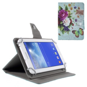Universal Leather Protective Case for Samsung Galaxy Tab 3 7.0 / Amazon Kindle Fire etc - Pretty Flowers & Stamp