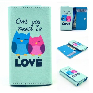 Lover Owls Universal Leather Pouch Case for Samsung I8150 S7262 / iPhone 3G, Size: 12.2 x 6 x 1.4cm