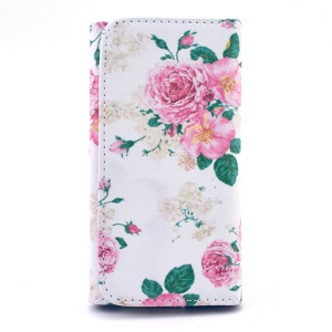 Pretty Peony Leather Pouch Case for iPhone 6 6s / Samsung A3 S4 / LG G2, Size: 13.8 x 7 x 1.5cm