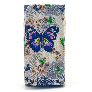 Wallet Leather Cover para Samsung Galaxy S6 edge + / Note5, porte: 155 x 80 x 15mm - Padrão floral de borboletas