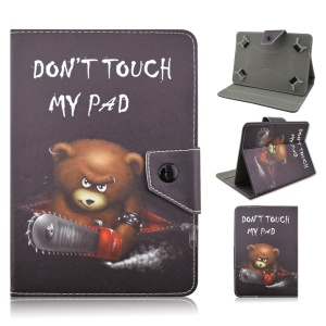 Universal Leather Cover for Samsung Galaxy Tab 3 7.0 / Tab 2 7.0 Etc - Do Not Touch My Pad and Chainsaw Bear