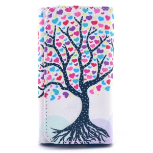 Universal Leather Pouch Sleeve for iPhone 5s / Samsung S4 A3, Size: 138 x 70mm - Cartoon Hearts Tree