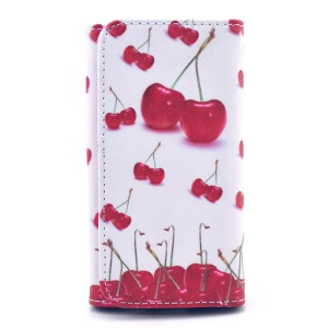 Universal Leather Pouch Cover for iPhone 5s / Samsung G386F, Size: 138 x 70mm - Red Cherries