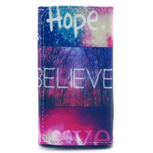 Universal Leather Pouch Case for iPhone 5s / Samsung S5 Mini, Size: 138 x 70mm - Hope Believe Love