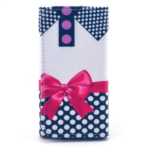 Universal Leather Case Cover for iPhone 5s / Samsung G386F, Size: 138 x 70mm - Polka Dots and Bowknot