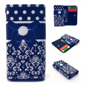 Wallet Leather Pouch for iPhone 6s 6 / Samsung E5 / HTC M8, Size: 144 x 75mm - Blue Bowknot & Tribal Flowers