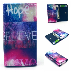 Wallet Leather Pouch Case for Samsung S6 edge+ / OnePlus 2, Size: 155 x 80mm - Hope Believe Love