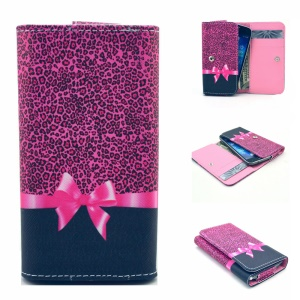 Wallet Leather Pouch Case for Samsung S6 edge+ / OnePlus 2, Size: 155 x 80mm - Leopard and Bowknot