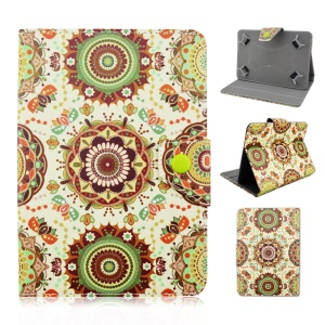 Universal Leather Tablet Case for Samsung Galaxy Tab 3 7.0 / Amazon Kindle Fire - Mandala Flowers