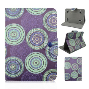 Universal Leather Cover Stand for Samsung Galaxy Tab 3 7.0 / Tab 2 7.0 Etc - Purple Circle Flowers