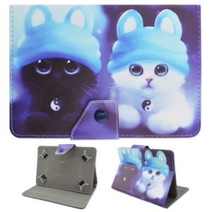 Stand Leather Cover for iPad Air 2 / Galaxy Tab E 9.6 T560, Size: 265 x 177mm - Cute Cats in Bunny Hats