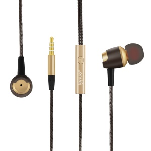 LENUO EL-53 Leku Stereo Earphone Headphone with Mic Line Control - Gold