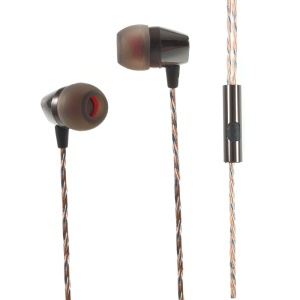 MGALL L8 3.5mm In-ear Stereo Earphone Headset with Mic for iPhone Samsung etc - Black