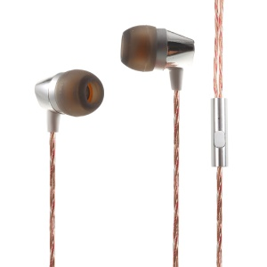 MGALL L8 3.5mm Stereo In-ear Earphone Headset with Mic for iPhone Samsung etc - Silver