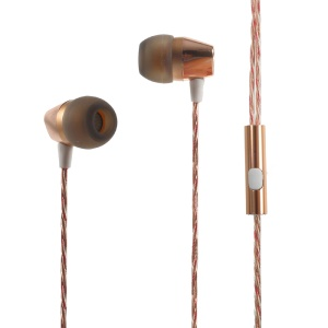 MGALL L8 3.5mm In-ear Stereo Headphone Headset with Mic for iPhone Samsung etc - Gold