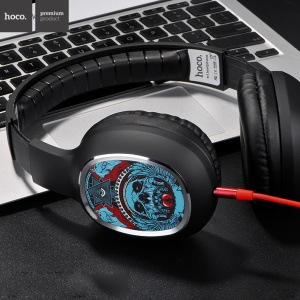 HOCO W1 Patterned Headphone with Mic for iPhone Samsung - Skull and Triangle Eye