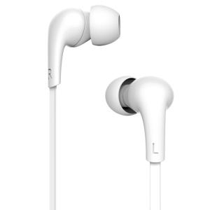 USAMS Leo Series 3.5mm In-ear Stereo Flat-style Wired Earphone with Mic for iPhone/iPad/Samsung (1.2m) - White
