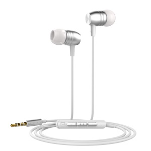 LANGSTON E8 Metal In-ear Headset with Mic for iPhone iPad Samsung LG - Silver
