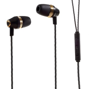 PINZUN 3.5mm Wired Earphone with Mic Volume Control for iPhone Samsung (EJ-006) - Black