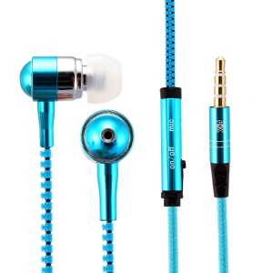 HAT PRINCE Zipper Shape 3.5mm In-ear Headset Earphone with Mic for iPhone Samsung - Blue