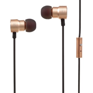 VORSON VIM-6012S In-ear 3.5mm 1M Titanium Metal Extra Bass Earphone with Mic (CE) - Gold