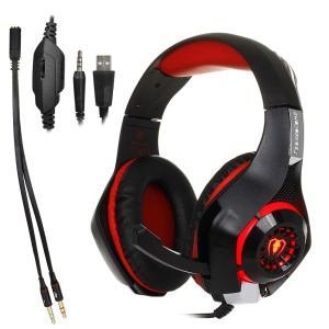 BEEXCELLENT GM-1 3.5mm Over-Ear Gaming Headphone with Mic & LED Light - Red